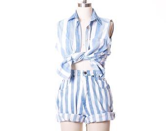 Vtg STEFANO High Waist Long Stripes Mom Shorts Size 8