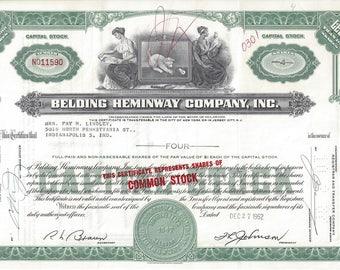 Vintage Belding Heminway Original Capital Stock Certificate (green), 1960's