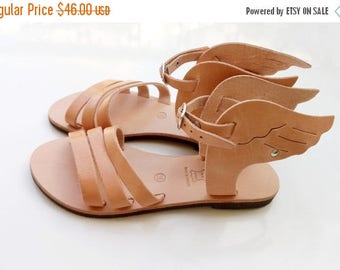 ON SALE winged sandals, Greek sandals, Hermes sandals, leather sandals