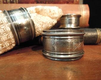 Three Vintage Antique Sterling Silver Napkin Rings / Round Napkin Ring / Silver Napkin Holders