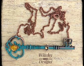 Boho Skeleton Key Necklace, Steampunk Necklace, Skeleton Keys, Vintage Key Jewelry, Skeleton Key Jewelry, Gypsy Necklace, Gyspy Jewelry