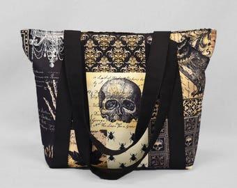 Zipper Tote Bag Nevermore Gothic Antique, Skulls Bats Owls, Black Sepia
