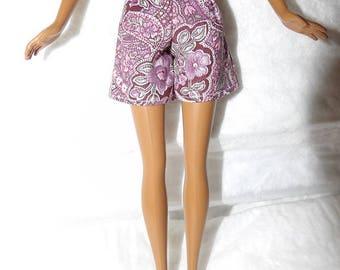 Fashion Doll Coordinates - Pink paisley & floral shorts - es431