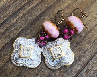 Marble Patinated Bangalore Czech Glass Beads Bohemian Chic Earrings