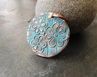 30% OFF Large Copper Pendant, Flower Pattern, Green Patina, Verdigris, Handmade Copper Metal Clay Pendant, 16 Gauge Copper Ring, Artisan Han