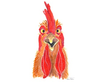 Crowing rooster art print, farm animal face mugshot picture, noisy chicken hen illustration, watercolor sketchbook art, farmhouse kitchen
