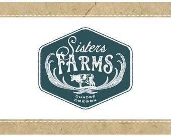 Custom Logo Design - PreDesigned Logo PreMade Logo Vector Logo - OOAK Logo - SISTERS FARM Logo - Cow Logo - Farming Logo - Agricultural Logo