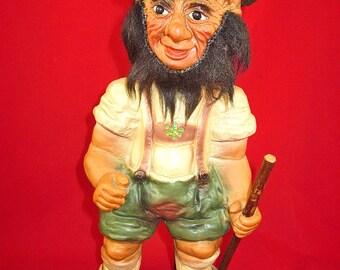 Vintage Heico, Germany, Bavarian, Hiker Nodder, Bobblhead Troll Doll, Figure, Toy, 9.5 inches