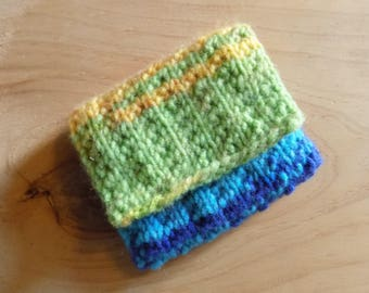 Knitted Rainbow Coin Purse, Bright Multi Coloured change purse.