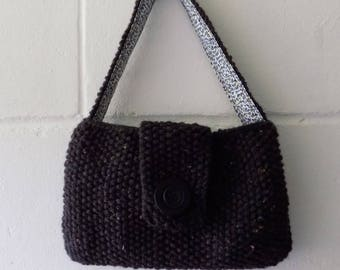 Hand Knitted Bag, Small Black Evening Bag