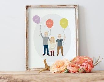 Custom Portrait Illustration | Family Illustration | Family Portrait | Children | Grandchildren | Kids | Personalized Gift Idea