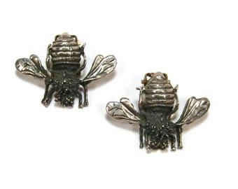 Vintage Mexican Sterling Bee Earrings