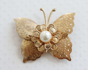 Vintage Butterfly Brooch Gold Pearl Butterfly Pin Filagree Butterfly Jewelry  Madman Jewelry