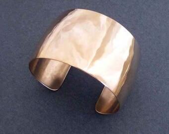 Domed Bronze Cuff Bracelet Hammered Bronze Metal Convex Cuff Modern Jewelry Bronze Anniversary 8th Anniversary Gift