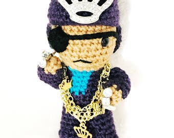 Slick Rick Inspired Crochet Doll / DJ Gifts for him/ Gifts for Music Producers/ Gifts for DJs/ Gifts for New Yorkers