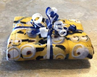 Minions Blue Reversible Burp Cloth - Ready to Ship by PiquantDesigns
