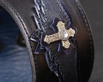 """Memorial Day Sale Leather Cuff: black and blue cuff with a blue angel wing and cross design """"Blue Angel Cuff"""""""