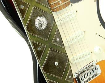 Distressed Leather Guitar Strap, Olive Guitar Strap: Eberdeen Guitar Strap