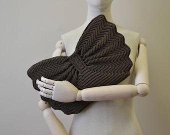 1940s Brown Crochet Clutch Purse