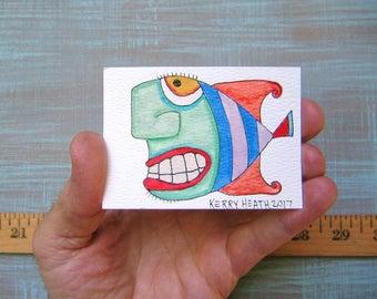 Fish-J53, Original ACEO Watercolor, Art Trading Card, Miniature Painting, by Fig Jam Studio