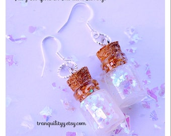 Fairy Glow in The Dark Earrings, Cellophane Fairy Ice, Strontium Aluminate Aqua  Pigment, 0.5ml  Glass Bottle Earrings ,   By: Tranquilityy