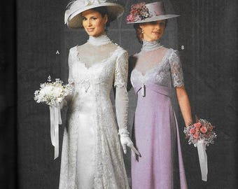 Simplicity 9716 Victorian Wedding Costume Titanic Dress Gown Sewing Pattern UNCUT Size 6, 8, 10, 12