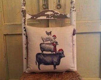 Christmas Farm pillow,Farm animal pillow, Farmhouse decor, Cow,pig,sheep,chicken pillow