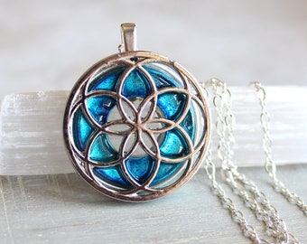 sky blue seed of life necklace, sacred geometry, spiritual jewelry, meditation jewelry, chakra necklace, yoga jewelry, unique gift