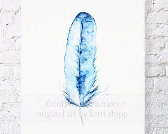 Blue Feather Watercolor Print 'Kingfisher' 11x14 - Denim Blue Art Print - Blue Feather Art Print