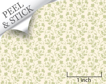 Quarter Scale Wallpaper-Peel and Stick-Climbing, Green