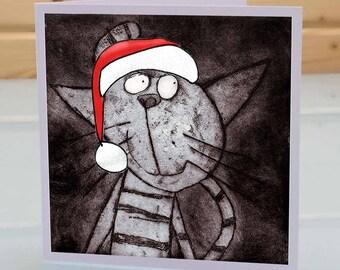 Cat Christmas Card - Feline christmas card, cat lover christmas card, cat xmas card, funny cat christmas card, cat lover xmas card