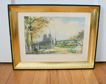 Charles Mondin French watercolor print signed and numbered- Notre Dame and Seine print- Paris French landscape print