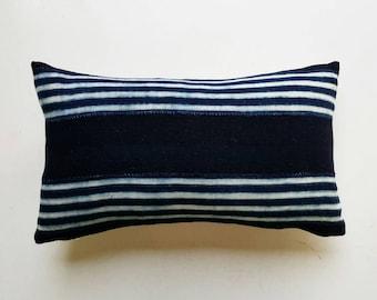 Vintage Mudcloth Lumbar Pillow Cover Indigo Stripes - Modern Bohemian Decor - Nautical Throw Pillow