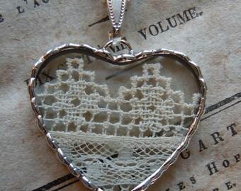 Fiona & The Fig - Antique Irish Crochet Charm -  Necklace - Pendant - Jewelry