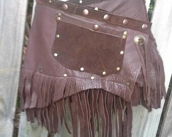 "20%OFF 20 PercentOFF ..BURNING Man festival ,Coachella festival.  gypsy tribal boho  leather mini skirt/belt with studs... 40'' to 48"" hip o"