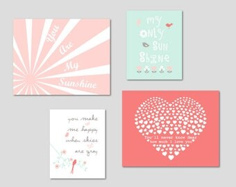 CANVAS ART, Girl Nursery Decor, You Are My Sunshine, Baby Girl Nursery, Coral Mint Nursery, Gift for Girl, Nursery Art, Set of 4 Yassisplace