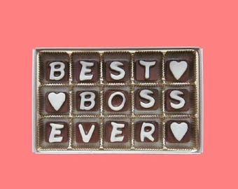 ship AFTER 8/7 Appreciation Gift Boss Men Women Gift Female Male Happy Holiday Say Thank You Idea Best Boss Ever  Fun Cute Gift Cubic Chocol