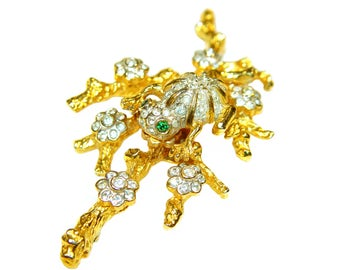 Kenneth Lane Brooch, Jeweled Frog on a Branch, Rare, Collectible, Signed, Vintage 1960s K.J.L.
