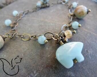 Bracelet chaine gros maillons bronze et breloques pierre amazonite citrine pendentif ours