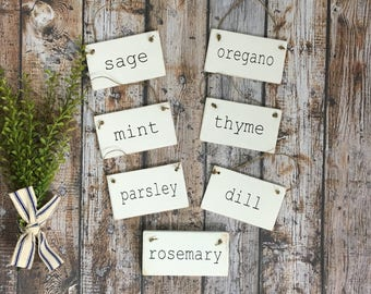 Set of Herb Signs Herb Garden Signs Rosemary Dill Sage Parsley Mint Oregano Thyme Mini Signs Garden Signs Gardening Farmhouse Decor