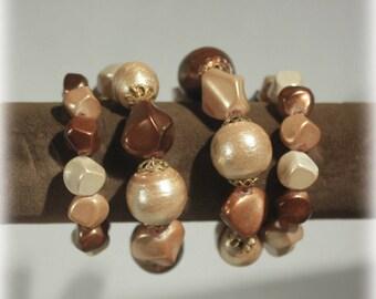 Chunky Mocha Wrap Bracelet, Chocolate Brown Bead Bracelet, Adjustable, Memory Wire Bracelet