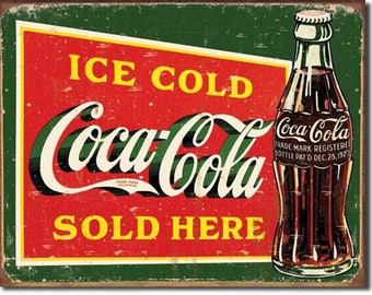"Ice Cold Coca-Cola sold here retro metal sign bar decor bar signCoke sign 12 1/2""X 16"