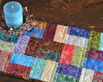 Batik Table Runner, Patchwork quilted table runner, Xanadu by Moda Fabrics, No. 2