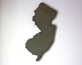 "New Jersey map metal wall art 15"" tall - NJ wall decor - choose your color - USA art state map art New Jersey art Newark Jersey City Trenton"