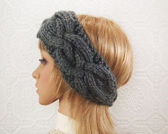 Knit cabled headband, headwrap - charcoal gray Women's Winter Fashion Fall Fashion - ready to ship- Sandy Coastal Designs made to order