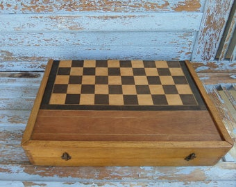 """Very Large  29"""" long Vintage French Backgammon & Checkers Game 1940s"""