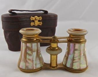 Antique Opera Glasses Mother of Pearl Jules Hautecoeur Paris Evening Entertainment Leather Case ca 1880s