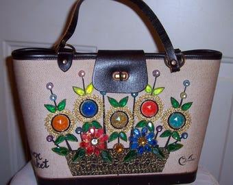 Vintage 1960's Enid Collins Flower Basket Purse...Colorful