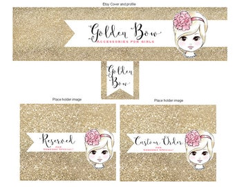 Golden Bow- Premade Etsy Shop COVER set