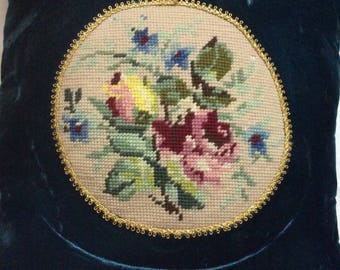 Vintage Deep Turquoise Velvet Pillow With Beautiful Needlepoint Roses Appliqué